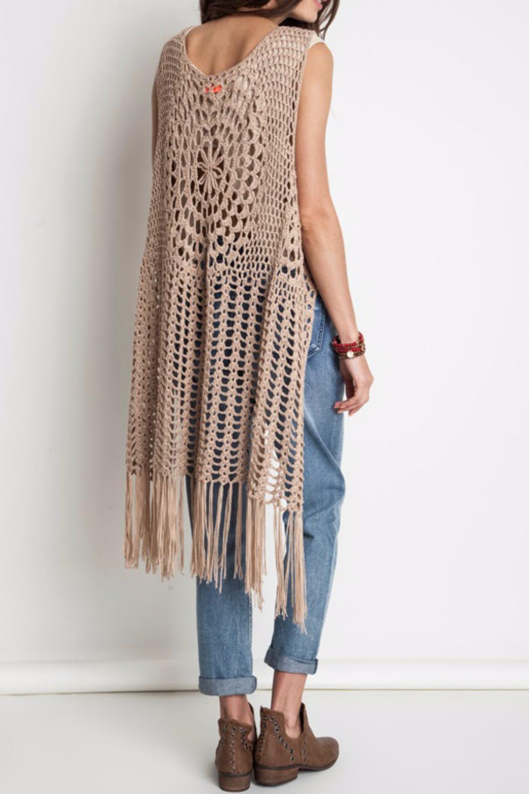 Crochet Vest ... harlow crochet vest by umgee (taupe) - thumbnail 3 unwepxv