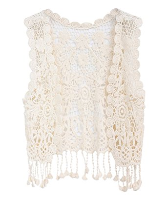 Crochet Vest zhuannian little girlu0027s crochet vest with fringe beige dpufvzs