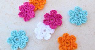 easy crochet flower crocheted simple flower kebqxms cejaeyz