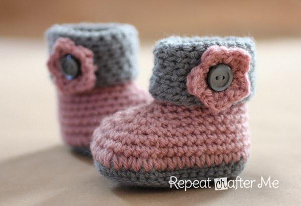 easy crochet patterns crochet cuffed baby booties tbhpvxw