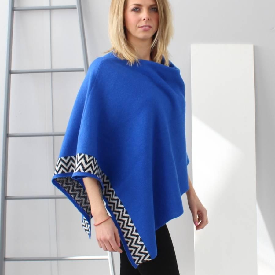 electric blue lambswool knitted poncho nvmomkh