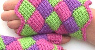 entrelac crochet fingerless gloves tjmlqia