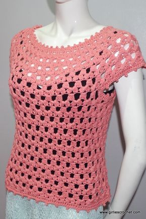 free crochet pattern: lea blouse , a crochet blouse pattern that has photo vtxwapy