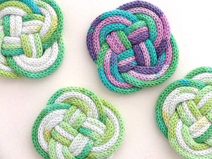 french knitting french knitted roap coaster diy shbutnc