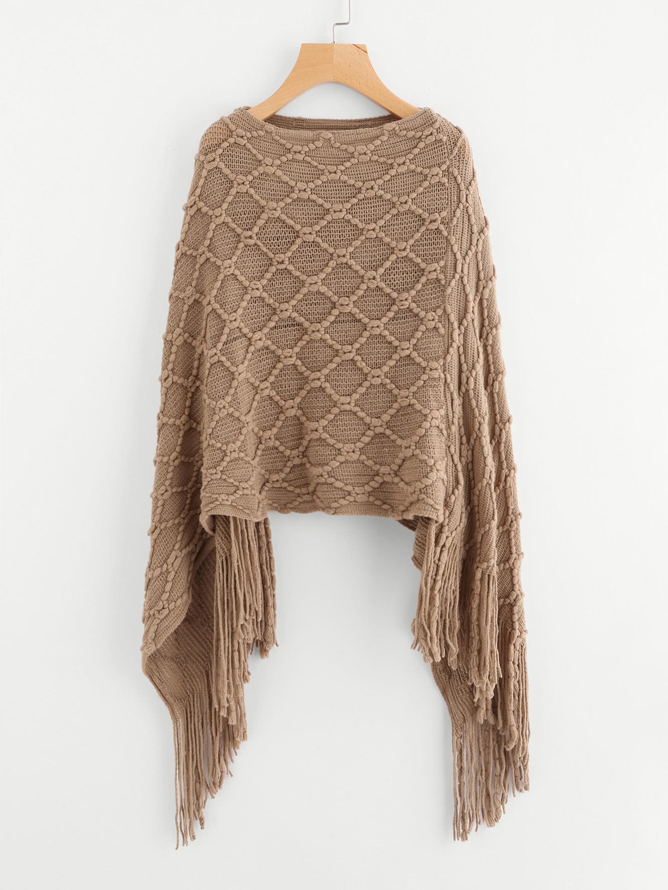 fringe hem poncho sweater -shein(sheinside) xffkxdq