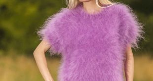 fuzzy short sleeve hand knitted crewneck mohair sweater in purple ebksyje