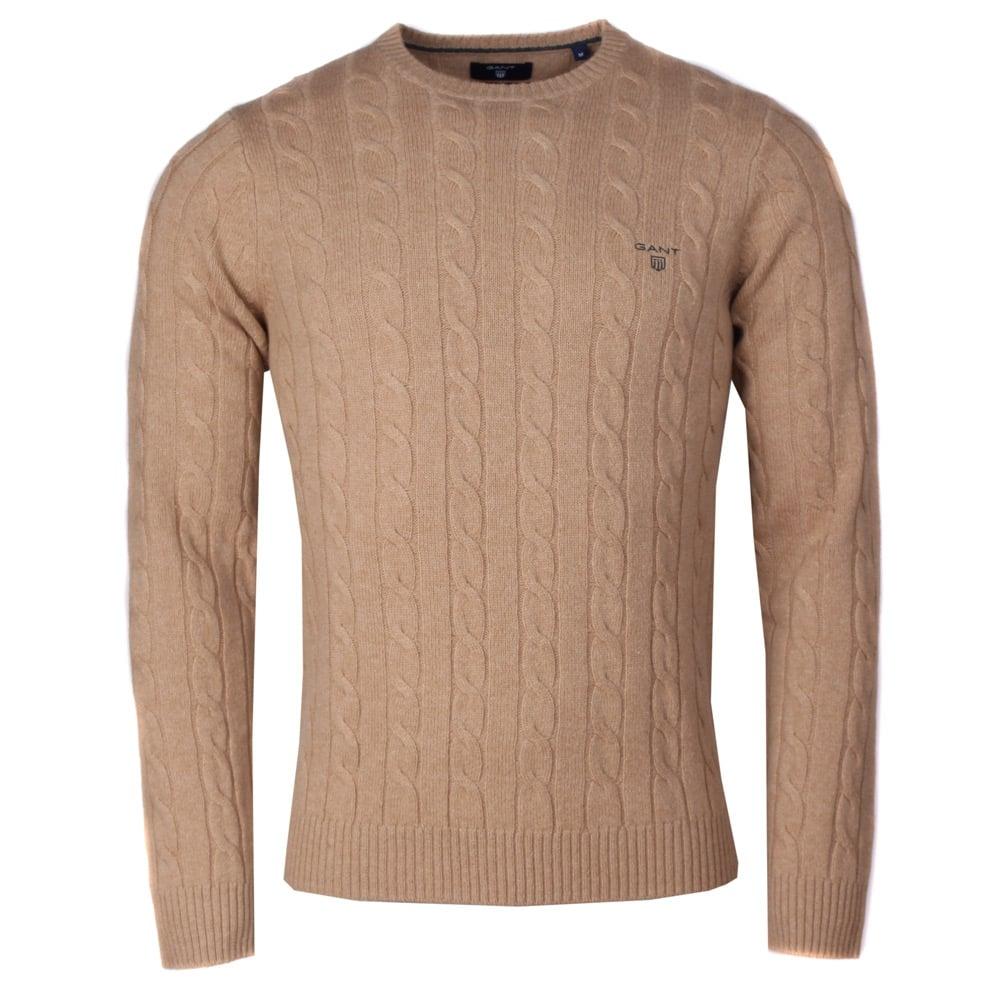 gant camel cable knit jumper xophrhb