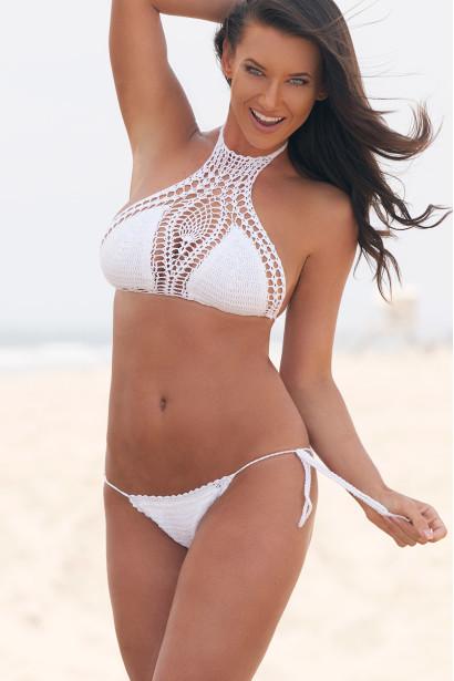 gardenia white halter top u0026 sexy micro scrunch bottom crochet bikini  swimsuit nhzgnmk