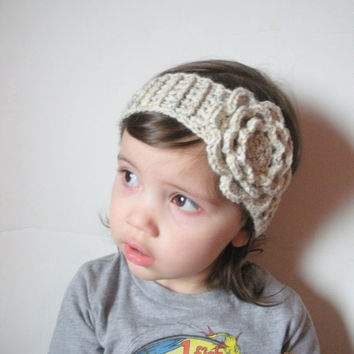 girls crochet headbands toddler girls crochet headband in oatmeal with large rose, ready to ship. zmoxnar