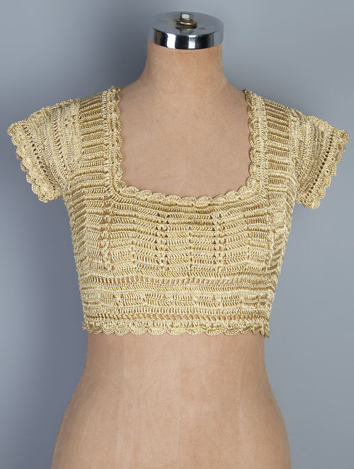 golden neemzari thread crochet blouse cbrlkyz