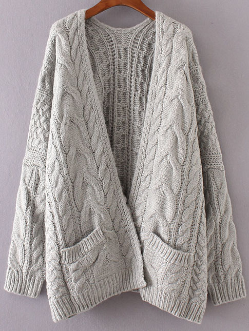 grey drop shoulder cable knit cardigan with pockets ggasdtm