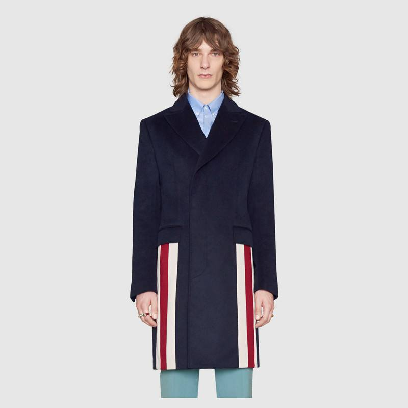 gucci eco cashmere coat with web detail 3 ibthafq