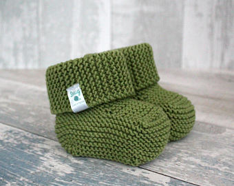 hand knitted baby clothes, gender neutral baby booties,