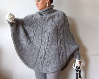 hand knitted poncho braided cape sweater,fall fashion cabled poncho, avant  garde traffic wocoixs