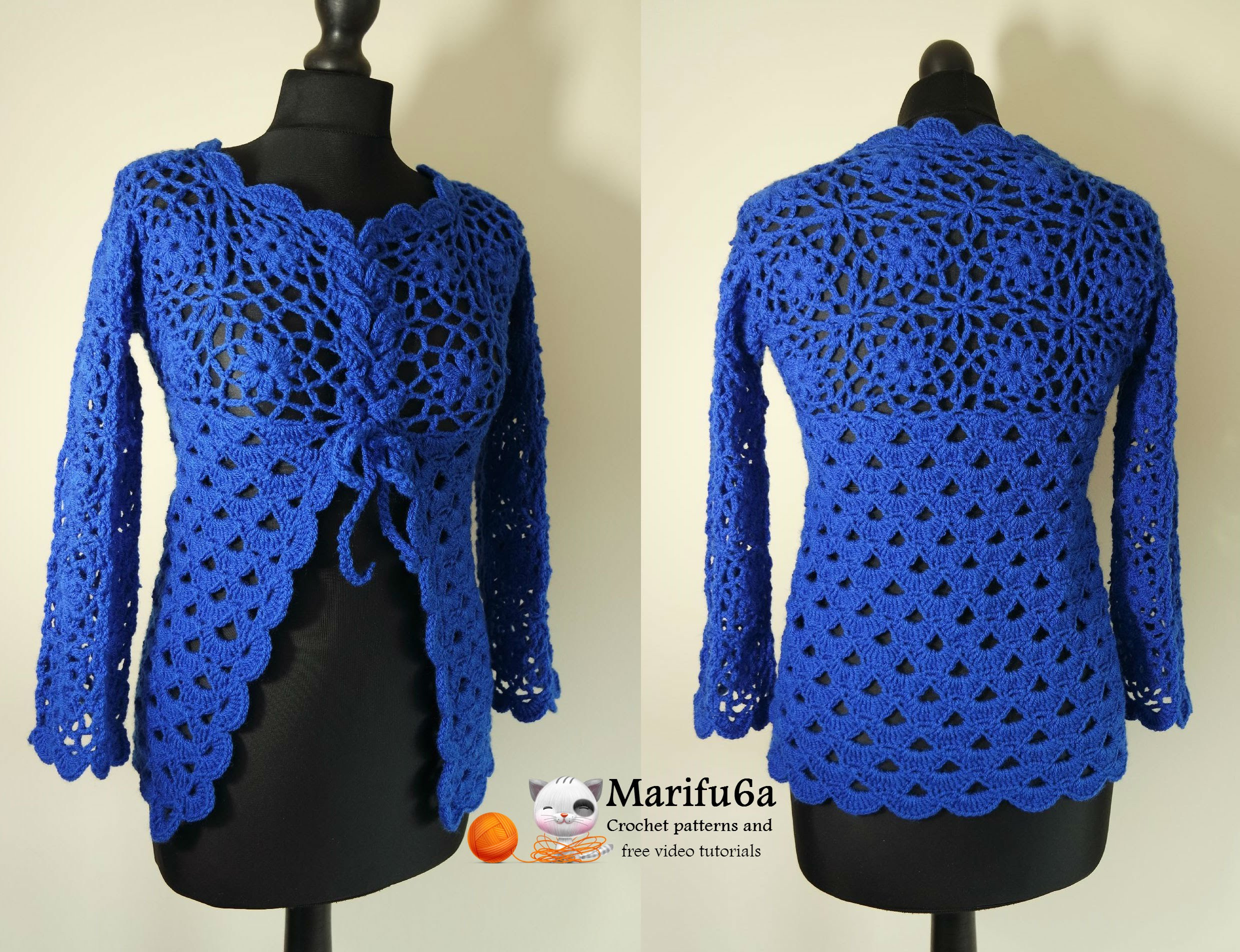 how to crochet jacket free tutorial pattern all sizes - youtube effftsc