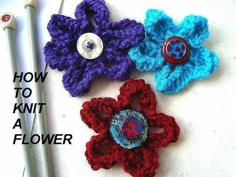 how to knit a flower, diy, knitted flower for brooches, hats, purses, etc. fnckfom