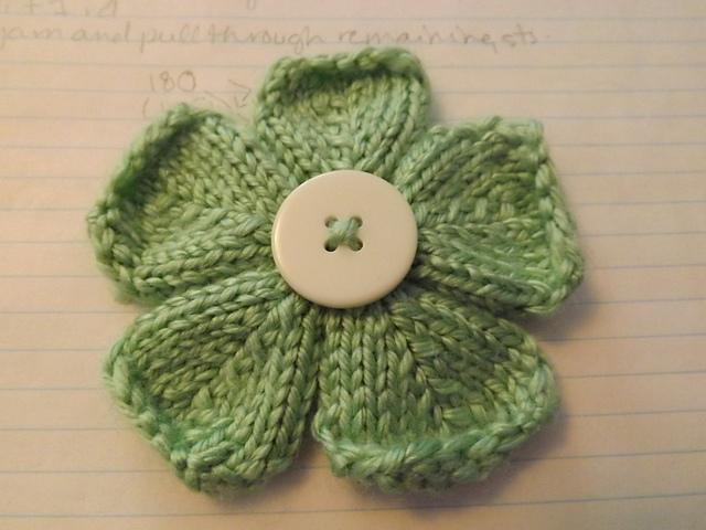 how to knit a flower five petal flower ... tcfnlrc