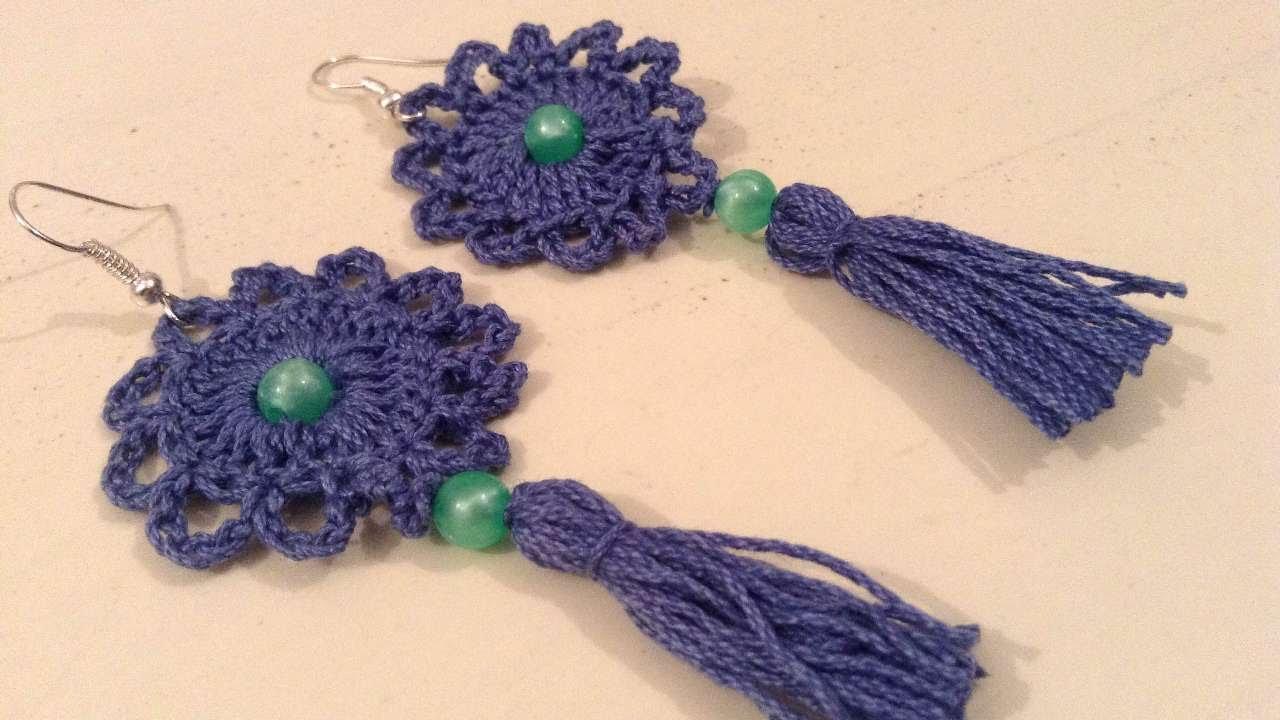 how to make beautiful tassel crochet earrings -