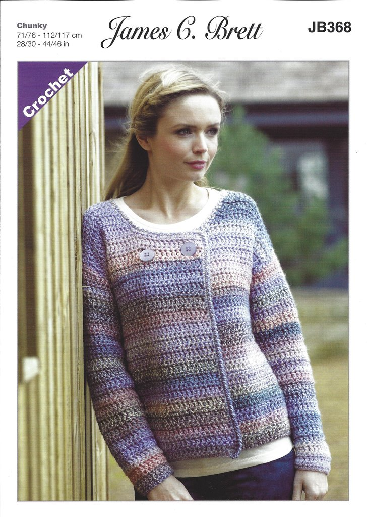 james c brett jb368 - ladies crochet jacket in chunky pattern - the mgpcinx
