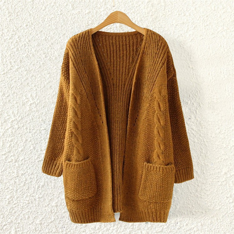 khaki loose cable knit cardigan 15cd00009-3 isbwpvy