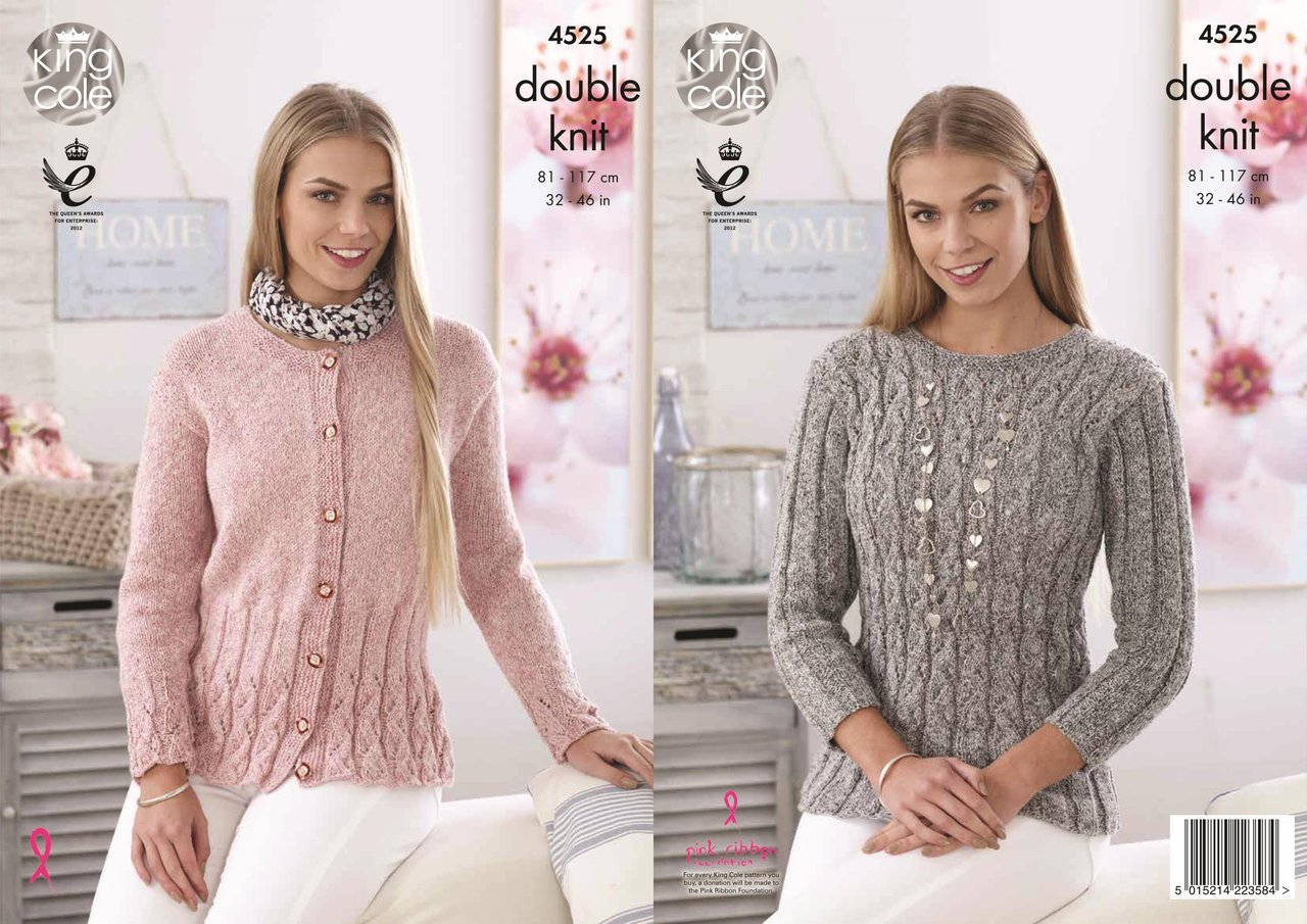 king cole knitting patterns king cole 4525 knitting pattern ladies sweater and cardigan in authentic dk pfqnwli