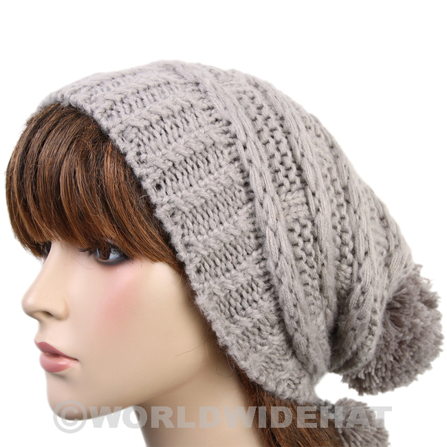 knit cap classic crochet hat knitted cap pom beanie woman gray be922g xppqjsn