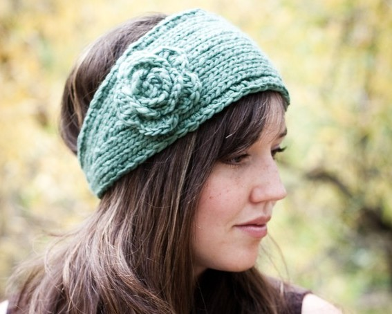 knit headband flower headband earwarmer ivfihcy