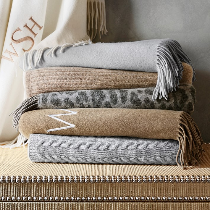 knit stripe cashmere throw, oatmeal | williams sonoma tgtsmyi