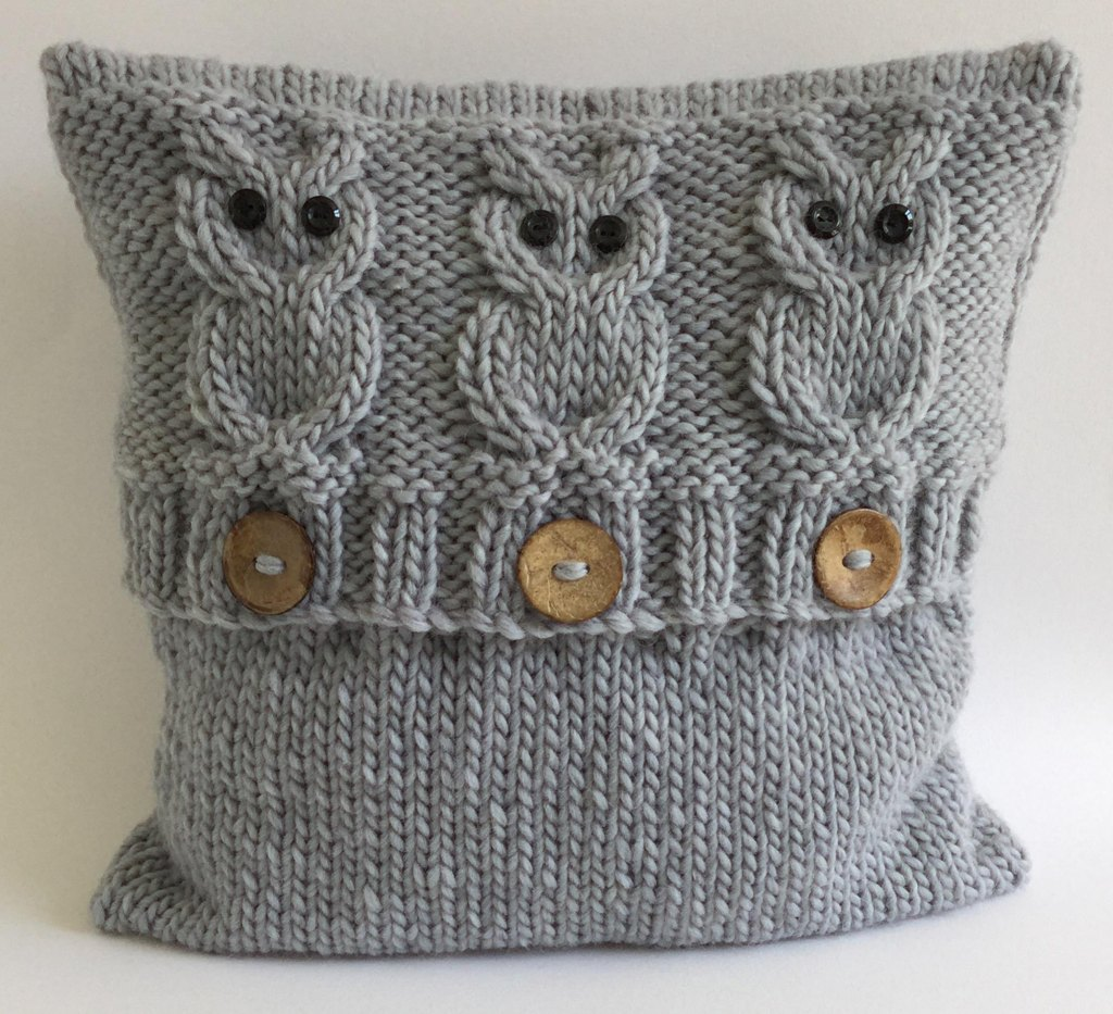 knitted cushions 3 wise owls cushion cover vnvnrtw