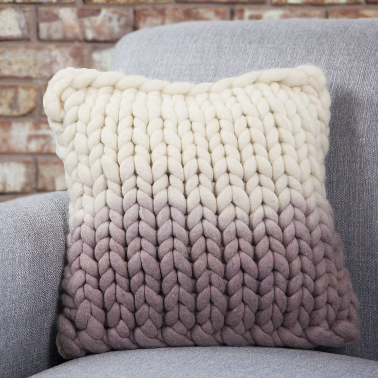 knitted cushions chunky hand-knitted decorative cushion, dip-dyed in mauve  and cream huiafqm