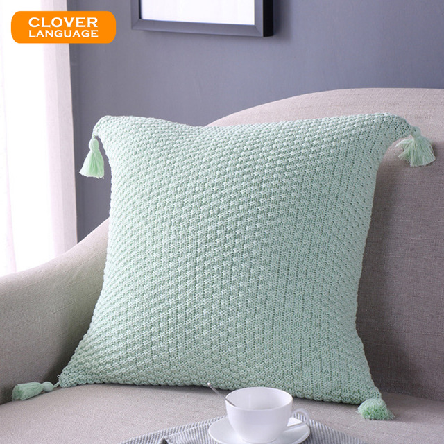 knitted cushions new nordic cushion cover 45*45cm tassel pillowcase knitted cushion covers  100% cotton kgzidfp