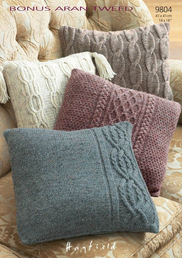 knitted cushions pillow cases in hayfield bonus aran