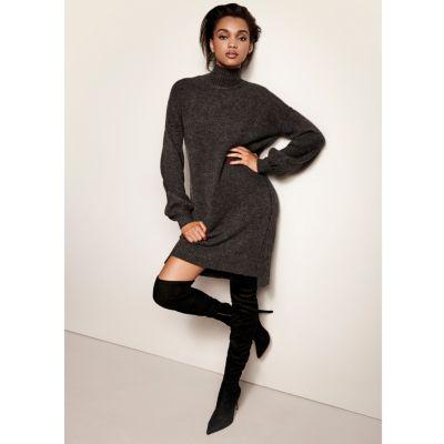 knitted dress dark grey knit balloon sleeve jumper dress fgellhc