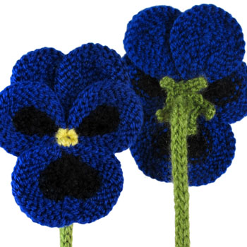 knitted flowers pansy flower free knitting pattern | flower knitting patterns, many free  patterns mstablf