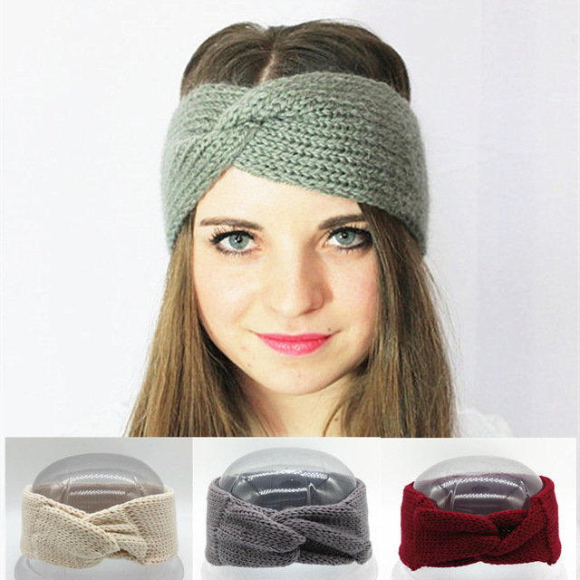 knitted headband crochet turban headband winter ear warmer knitted wool bow wide headbands  for derqsro