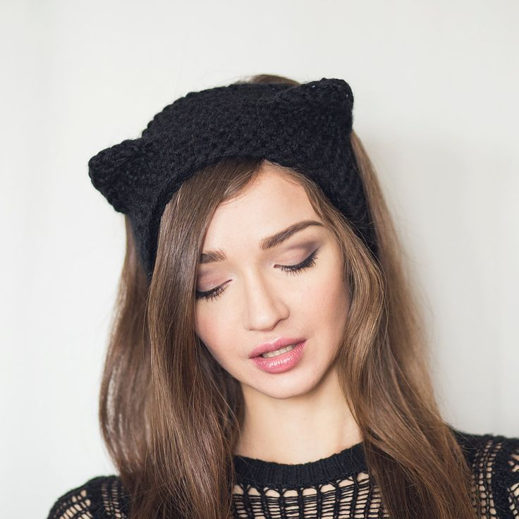 knitted headband knit headband black cat. fall/winter womens ear-warmer. grey/ black xgbqhqf