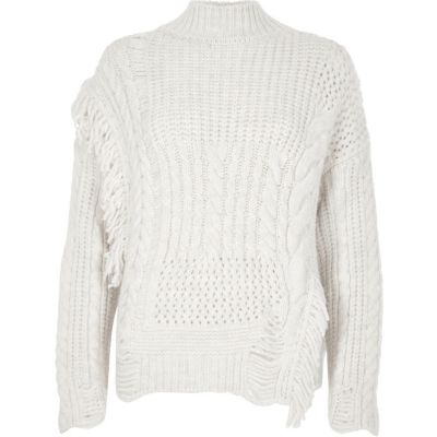 knitted jumpers cream mixed stitch fringe cable knit jumper xqvcfpa