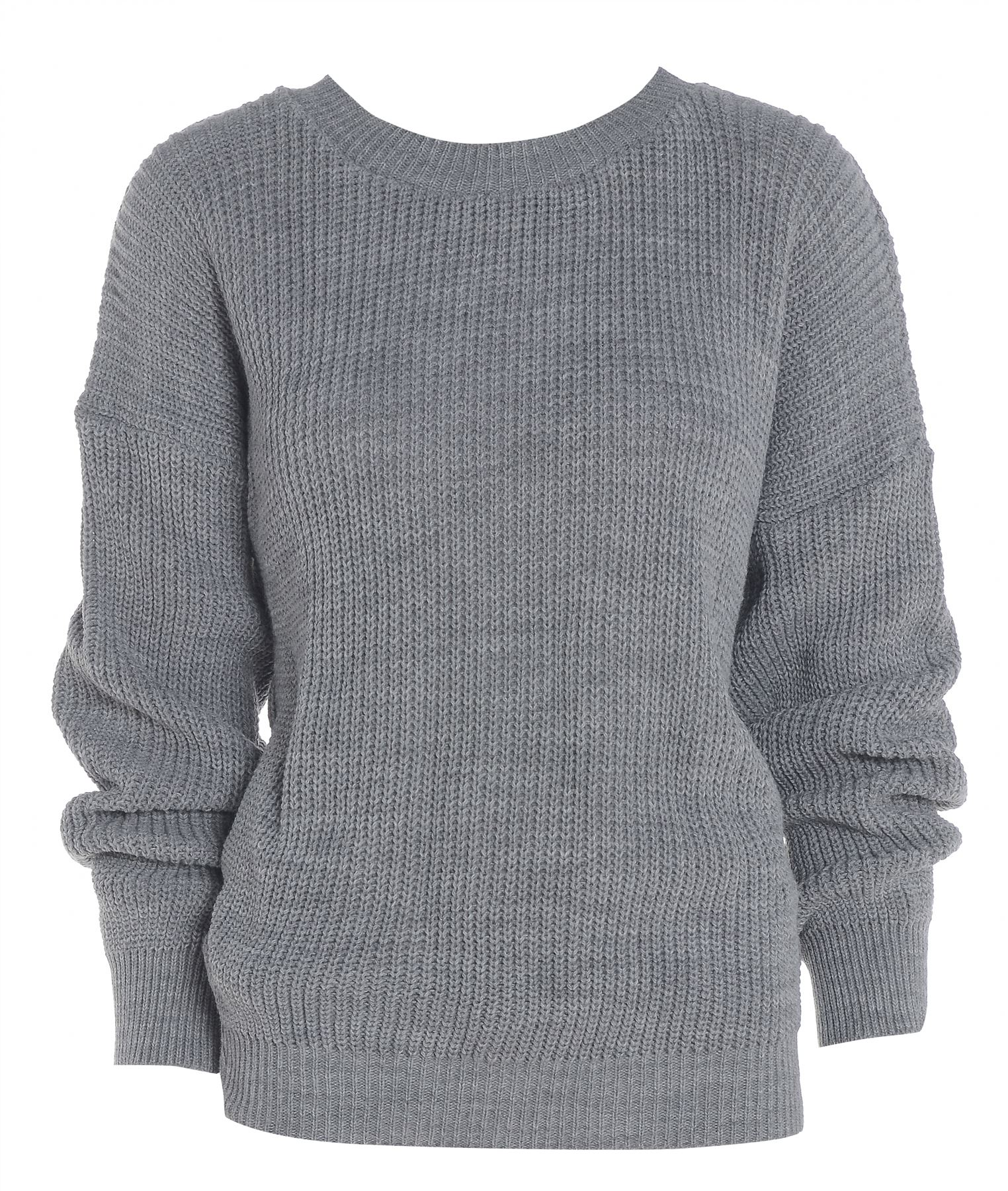 knitted jumpers ladies-womens-plain-colour-chunky-knitted-baggy-jumper- eowamxm