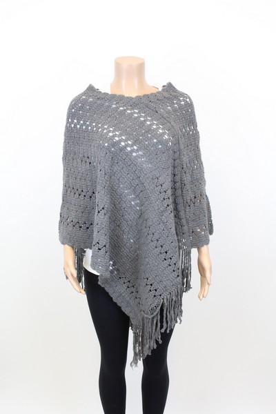 knitted poncho srqicji