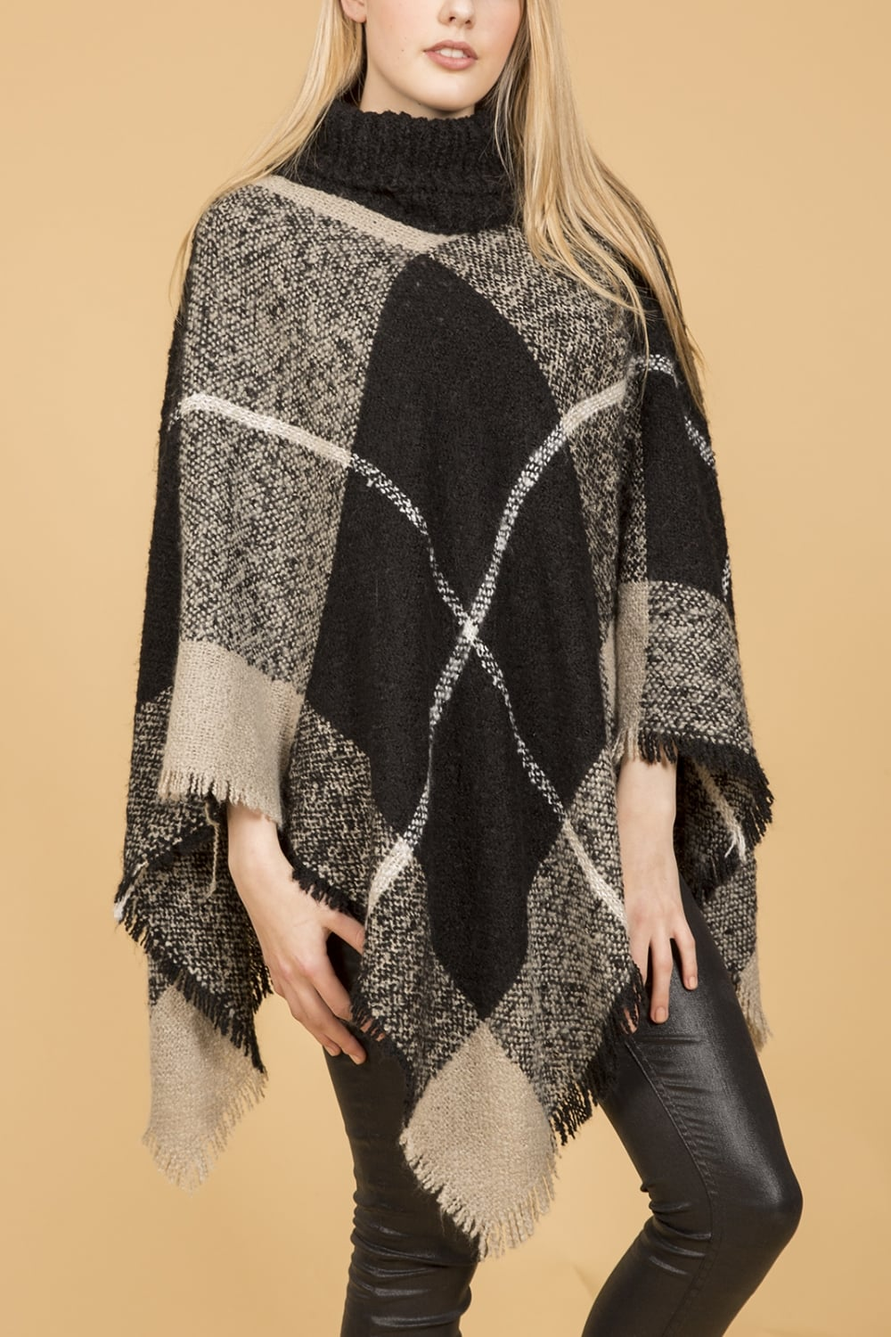 knitted poncho with roll neck collar hfqdoko