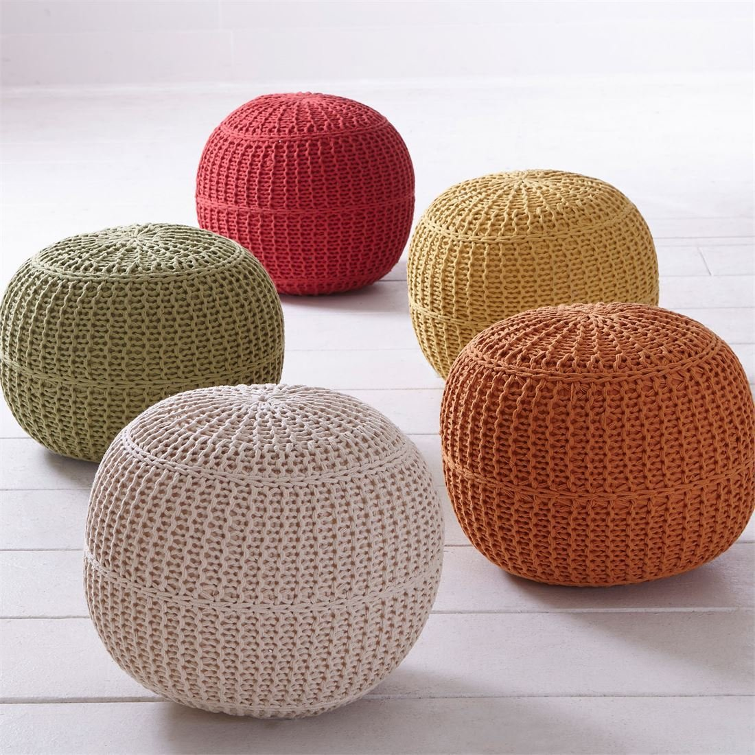 knitted pouf amazon.com: brylanehome hand-knitted ottoman pouf (red,0): kitchen u0026 dining itibems