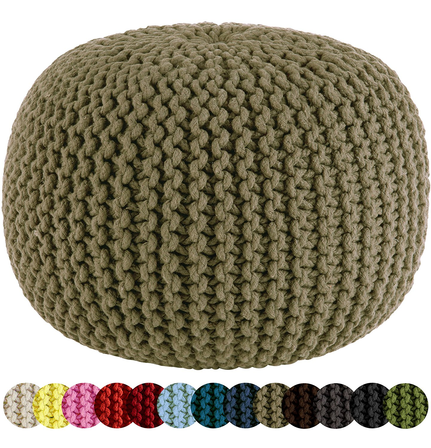 knitted pouf amazon.com: cotton craft - hand knitted cable style dori pouf - beige - kkrpfyq