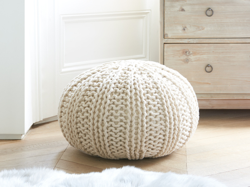 knitted pouf bug pouffe in oatmeal nyiwsov