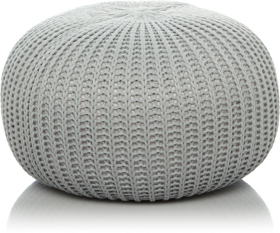 knitted pouf fine knitted pouffe - grey ocsjbwk