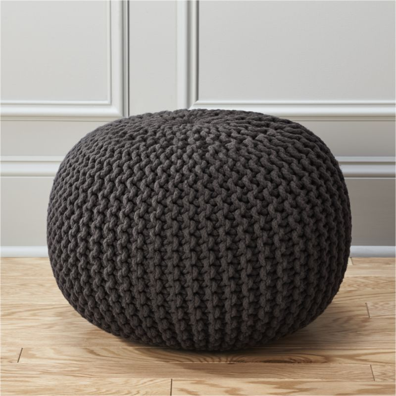 knitted pouf knitted graphite pouf | cb2 fkioede