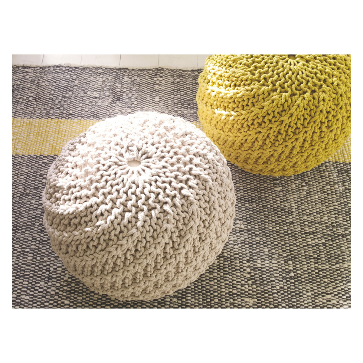 knitted pouf knot yellow knitted round pouffe | buy now at habitat uk yyheezk