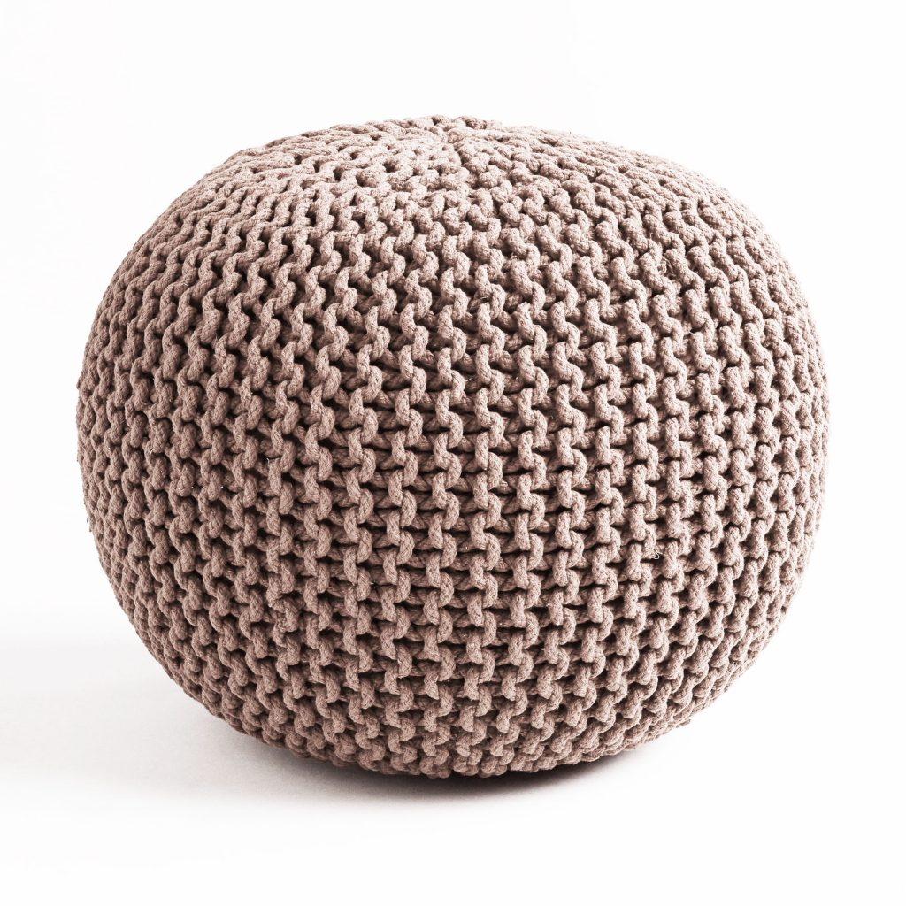 knitted pouf living room ideas with brown knit pouf oekjlgq