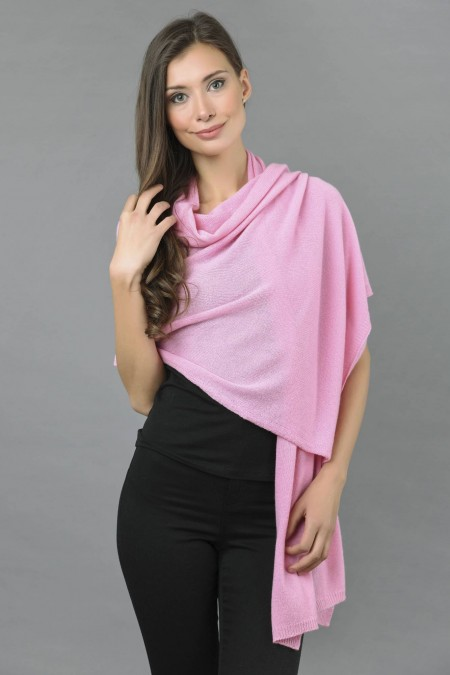 knitted pure cashmere wrap in ultra pink 1 ... cokeibl