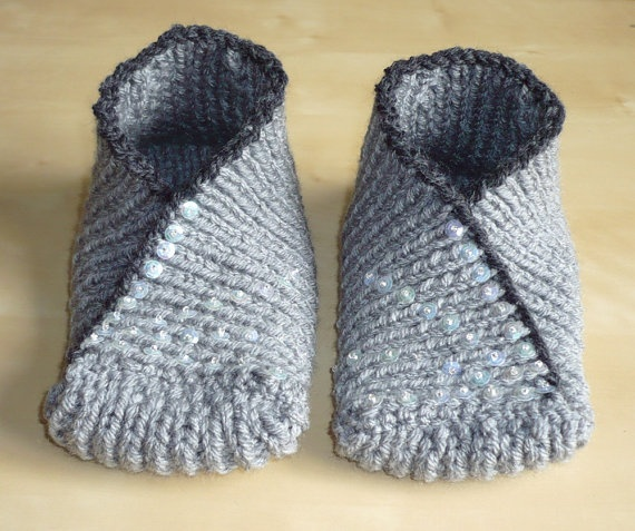 knitted slippers hand knit slippers socks - kimono slipper socks in grey, green - spring qyfydvt