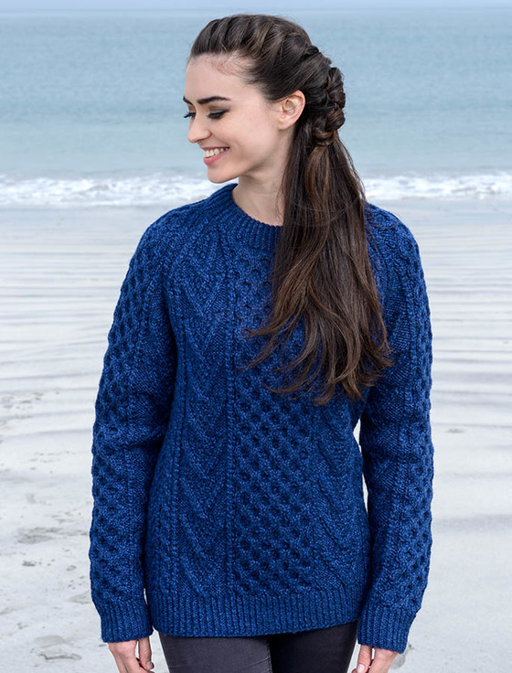 knitted sweaters handknit new wool honeycomb stitch aran sweater - nightshade uncgaxj